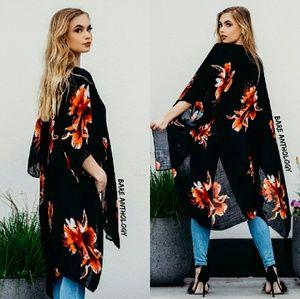 Tops - Boho floral kimono duster - BLACK/ RED